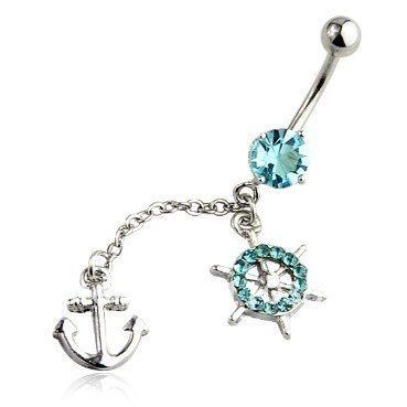 Anchor Belly Ring Long Y Dangle With Cz Stones Piercing On Navel Surgical Steel Bar 14 Gauge 1 Free Retainer Choose Your