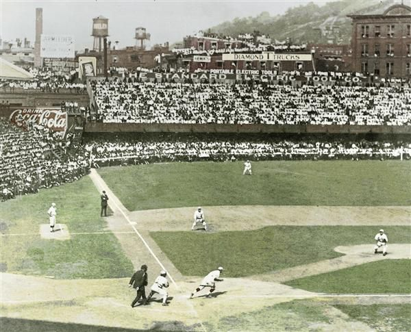 Great color shot of the 1919 World Series in Cincinnati. This series featured the Cincinnati Reds vs. the Chicago White Sox. The Reds won the series, but a few of the White Sox players were accused of  purposely losing the series in return for a large payday from a gambling ring. The subsequent trial, acquittal, public outrage, and lifetime bans for certain White Sox players was known as the Black Sox scandal.
