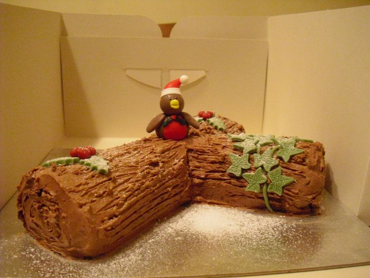 Guess the name of the Robin on the chocolate log. School Christmas Fair game.