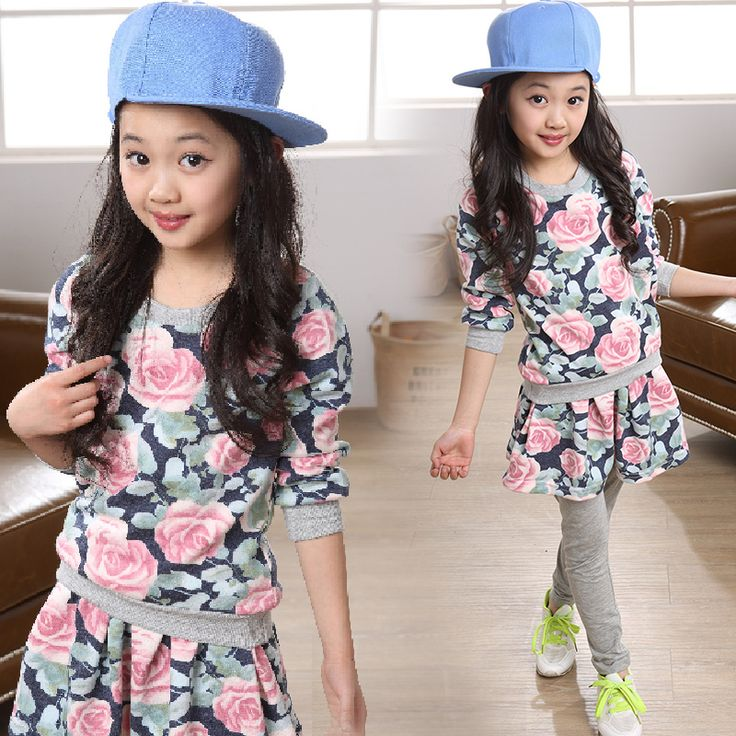 Cheap sport wear for men, Buy Quality costume jerry directly from China costumes army Suppliers:  Sports Costumes for Girls Autumn Winter Set Baby Outfits 4-12T Floral Printed Long Sleeve Top + Skirt pant Teenager Gir
