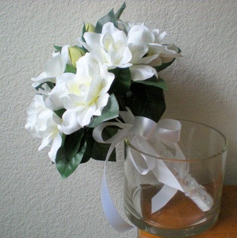 Gardenia Wedding Bouquet Bridal Flowers by GardenLeafSeaside