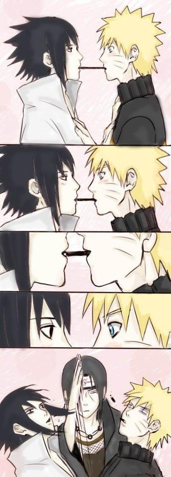 Itachi does not like...Naruto and Sasuke...Ha you were all like...now kiss. Then Itachi happened.