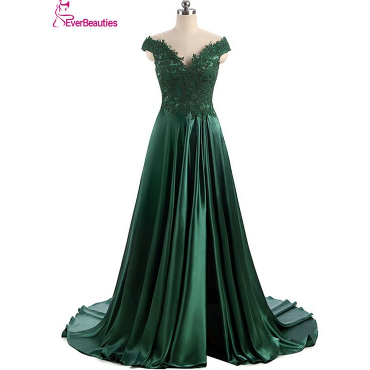 Aliexpress.com: Comprar Robe De Soirée Elie Saab Vestido de Noche de Boda Largo Oscuro Diseño de Split Satén verde Cap Manga Vestidos De Noite Párr Casamento de evening dresses long fiable proveedores en Ever Beauty's Factory
