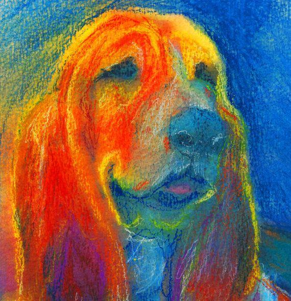 Basset hound dog Painting Orange blue dog art by OjsDogPaintings #bassethounds #dogs #art