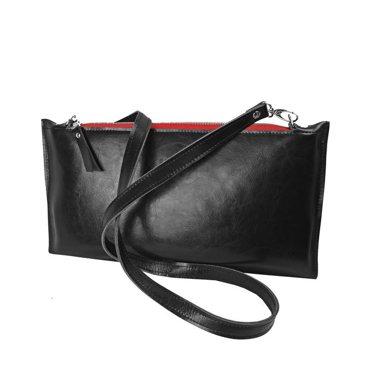 SKÓRZANA KOPERTÓWKA RED #leather #clutchbag #bag #clutch #red #black #evening
