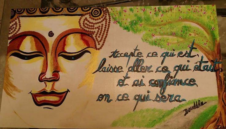 Peinture acrylique bouddha et citation