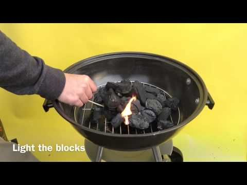 How to light Lumpwood charcoal with lighting blocks