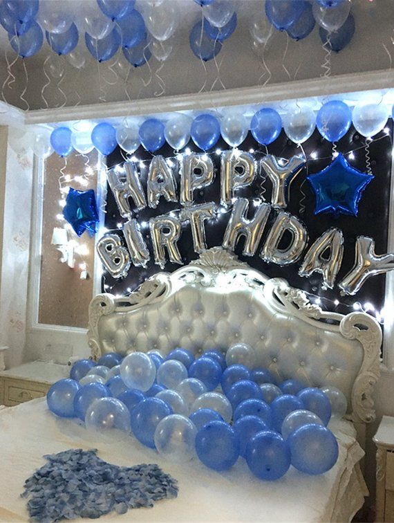 Silver Happy Birthday Decoration With Blue Balloon Bouquet