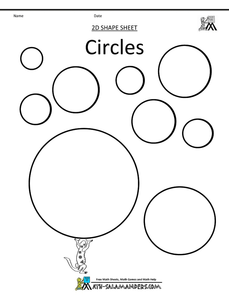 Math 1 Dimensional Circles Shape Coloring Pages Shapes For Kids Circle Semi circle worksheet for kindergarten
