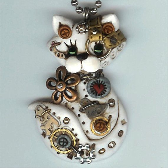 Steampunk White Kitty Cat With Green Eyes Necklace Polymer Clay Jewelry