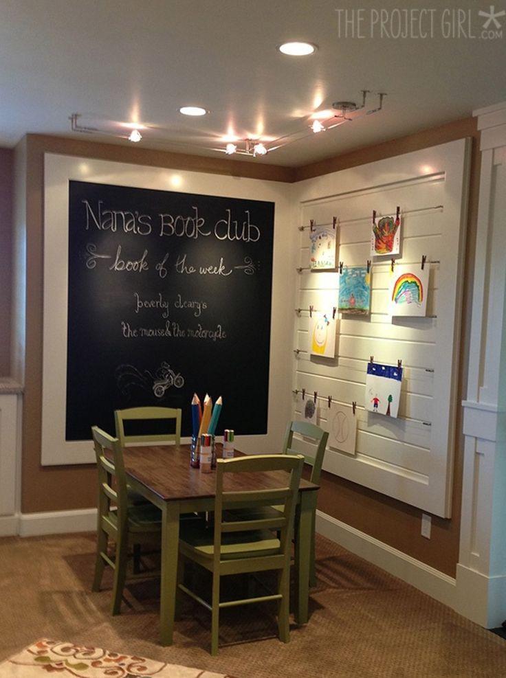 Chalkboard wall and trendy art display. :)