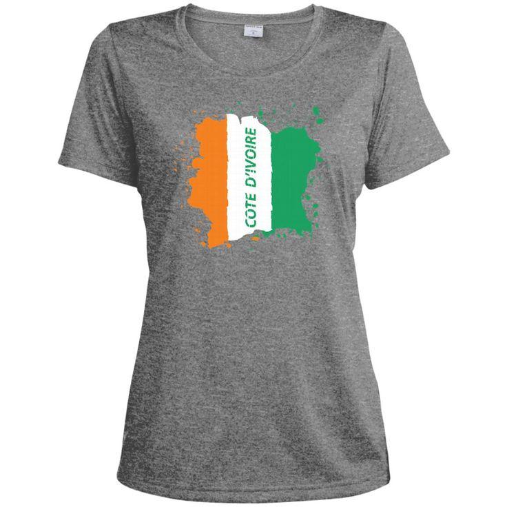 Ivory Coast Coat Of Arms T Shirt National Cote d'Ivoire-01 LST360 Sport-Tek Ladies' Heather Dri-Fit Moisture-Wicking T-Shirt