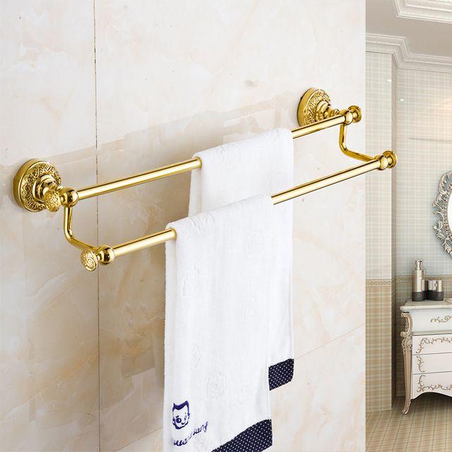 熱い販売卸売小売振興ラグジュアリーゴールデン真鍮ウォール マウント浴室タオル ラック ホルダー デュアル タオル ハンガー B-6341K