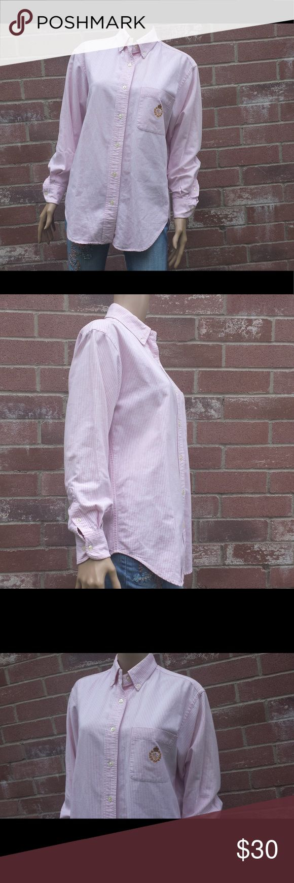 "Lauren Ralph Lauren Pink & White Oxford Shirt Sz 8 Buttoned placket, straight buttoned down collar, barrel cuffs, embroidered ""LRL"" logo on chest pocket, split back yoke for a smooth contoured shoulder, cotton, machine washable: Arm pit to arm pit 21"" Shoulder seam to shoulder seam 18"" Shoulder seam to end of cuff 21"" Back of collar to bottom of hem 29.5"" Vintage Tops Button Down Shirts"