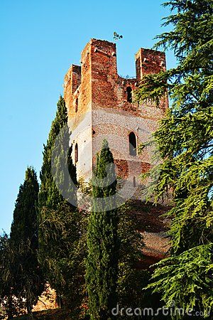 Tower against the blue sky in Castelfranco Veneto, Italy, Europe.