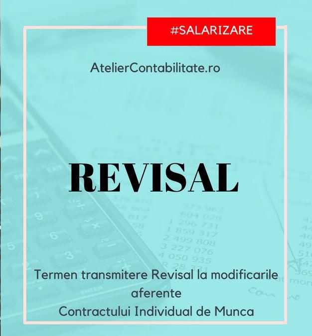 Termen pentru transmitere REVISAL la modificările contractului individual de muncă