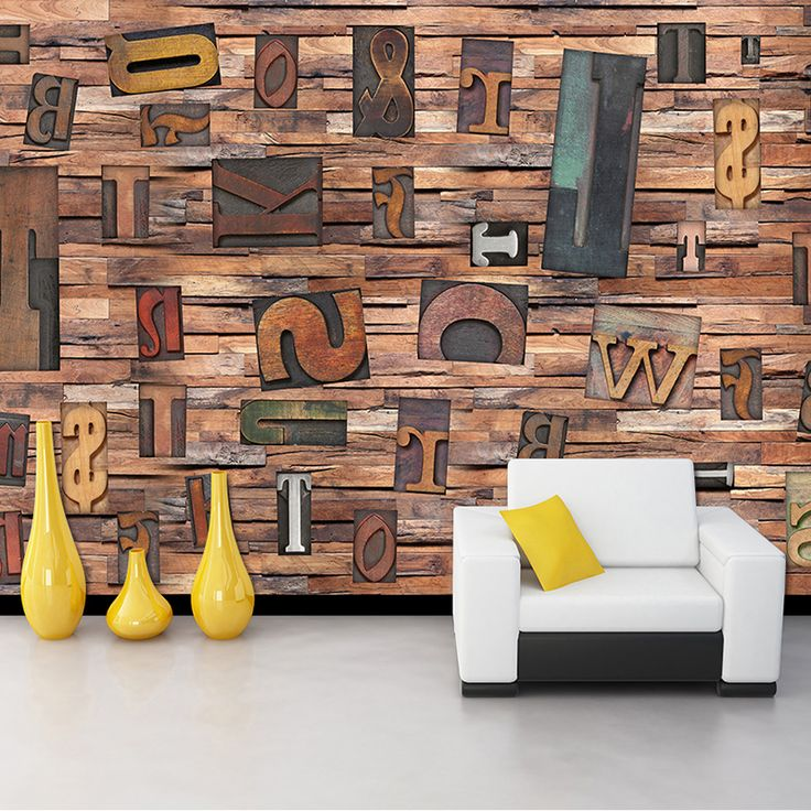 Custom 3D Mural Wallpaper For Wall Non-woven Straw English Letters Vintage Wooden Photo Mural Wall Paper Rolls TV Sofa Backdrop #Affiliate