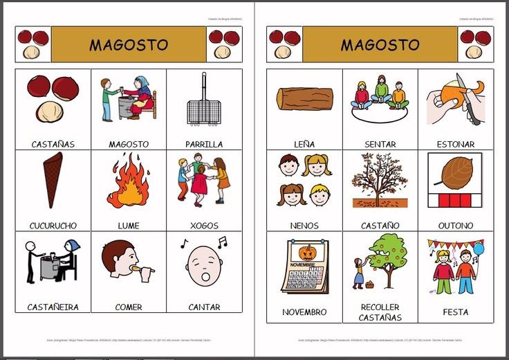 MATERIALES - Bingos sobre el magosto o castañada.    Conjunto de bingos de diferentes tamañaos sobre la fiesta tradicional del magosto o castañada que se celebra en algunas zonas del norte del España.    http://arasaac.org/materiales.php?id_material=810