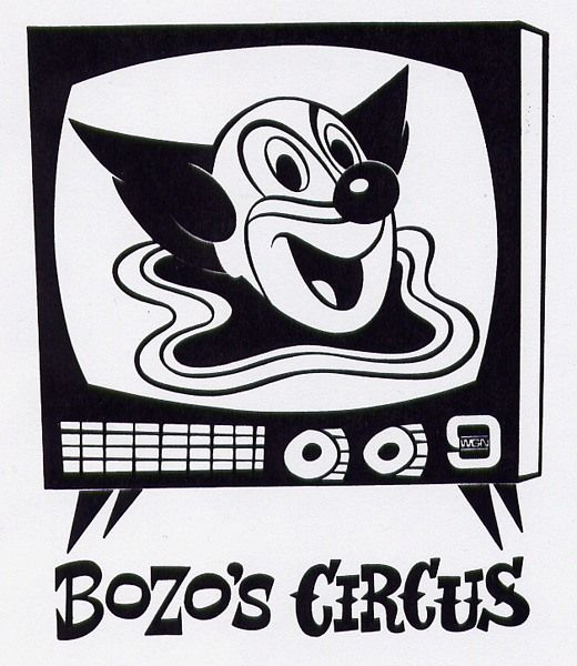 WGN-TV Channel 9's BOZO's CIRCUS used to run the 1960s Larry Harmon BOZO cartoons which featured the great BOZO character design shown here.