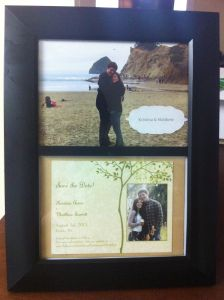 Easy craft project great for an inexpensive wedding or bridal shower present: framed photos from the couples engagement and/or their save the date/engagement announcement.