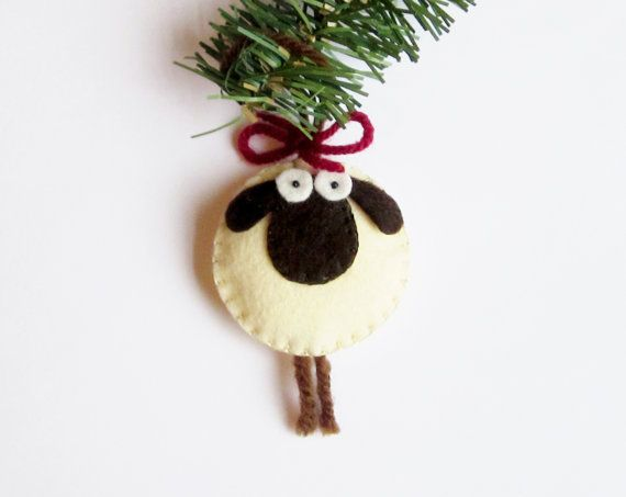 ~Giorgio the Sheep Ornament Felt~ Original Design (copyright © 2013-16 MartianiQue) Meticulously Handcrafted with High Quality Materials  Giorgio, the sheep, is now also an ornament. 15 elaborate steps were performed to create this adorable and whimsical spirit that is Giorgio. Cream colored, with chocolate brown ears, face, and legs. Made with U.S.A. felt, and gently stuffed with fiberfill. Adorn your room, car, accessory with Giorgio the sheep. Great to own and for gift-giving. Great gift…