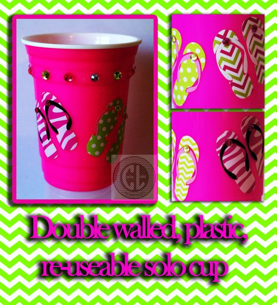 Flip Flop/ Summer time Pary Cup/Custom Solo Cup by CockyLadies, $9.00