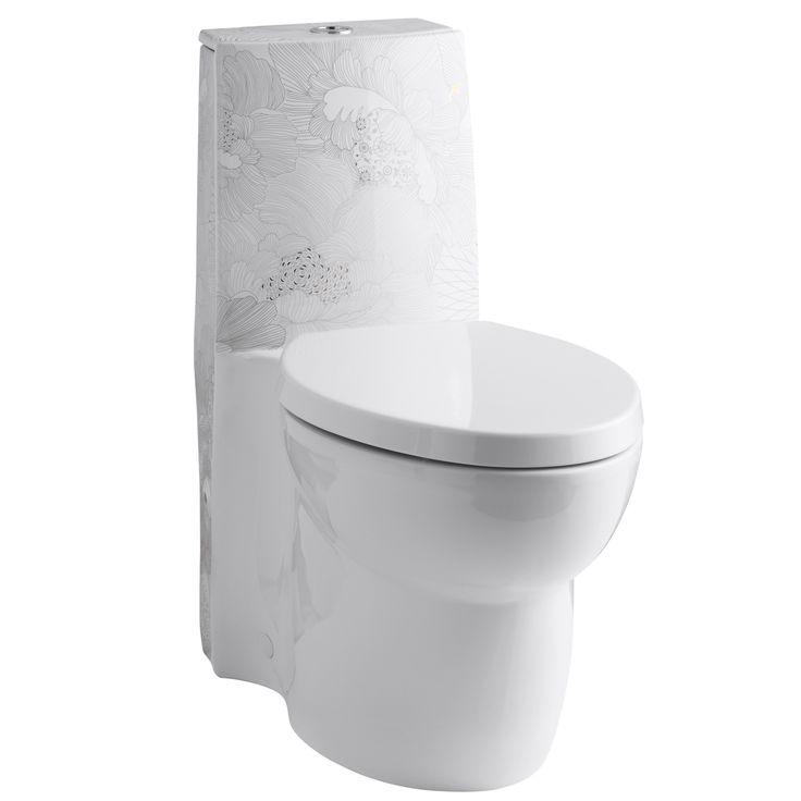 Empress Bouquet Design On Saile One-Piece Elongated Dual-Flush Skirted Toilet with Top Actuator and Saile Quiet-Close Toilet Seat with Quick-Release Functionality