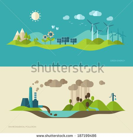 Flat design vector concept illustration with icons of ecology, environment, green energy and pollution - stock vector