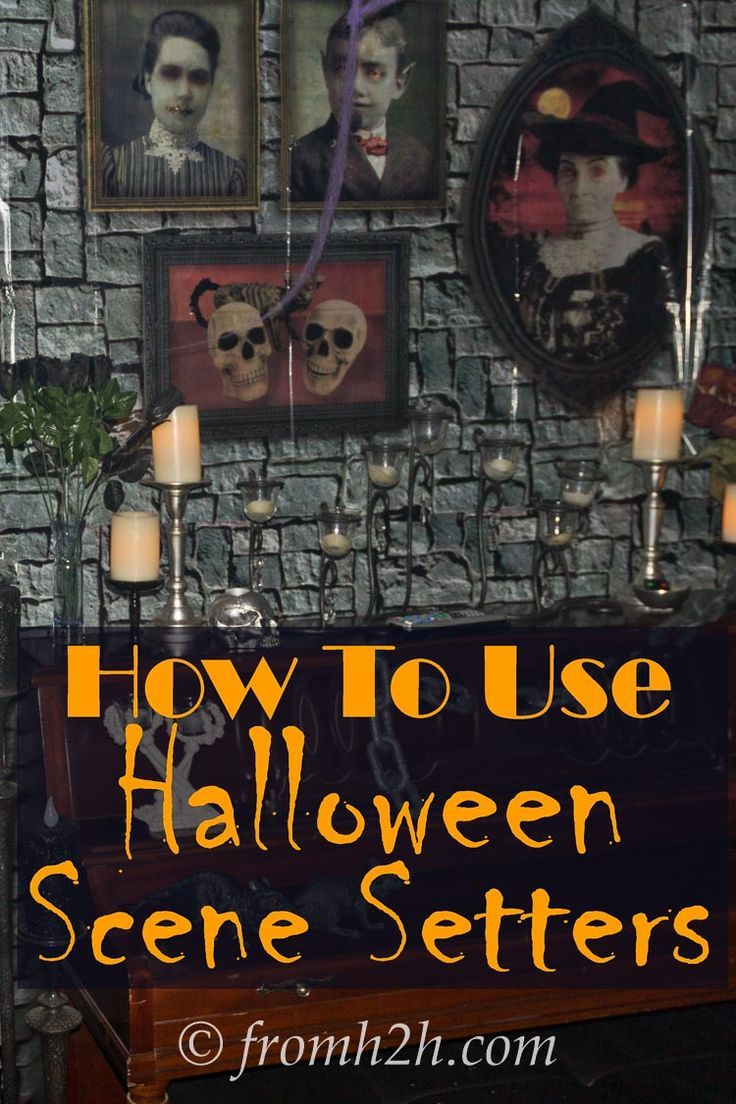 This tutorial for hanging Halloween scene setters is the BEST! This stone wall scene setter changes the whole look of the room. I can't wait to try it for my Halloween party this year. Pinning!!