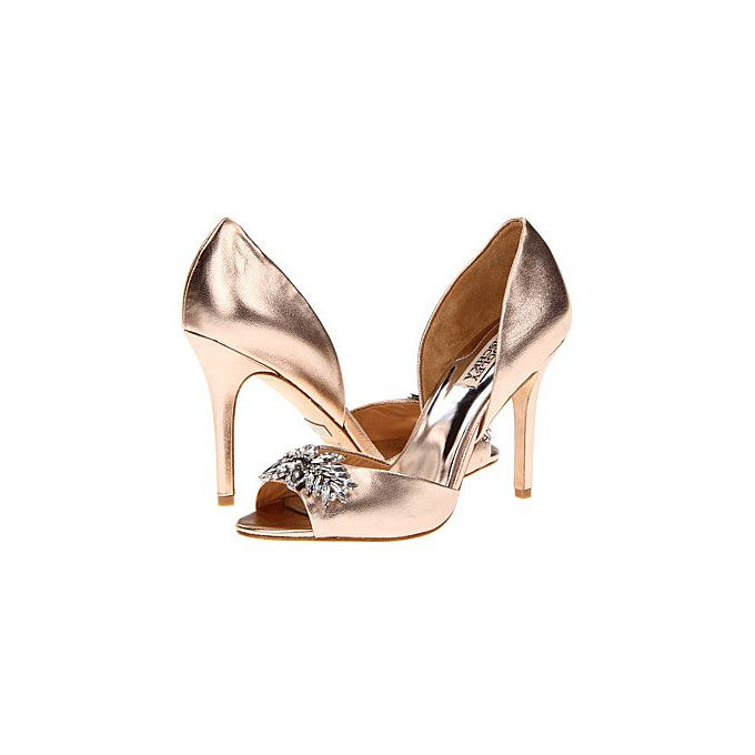 """Brides.com: Rose Gold Wedding Shoes. Badgley Mischka """"Nikki II"""" high heels, $225, available at Zappos  See more vintage wedding accessories."""