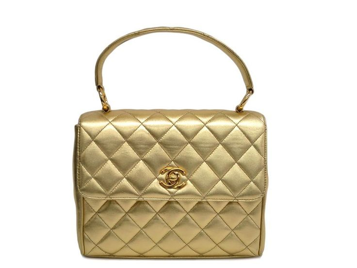 #CHANEL Single Flap Hand bag Lambskin Gold (BF100538). #eLADY global offers free shipping worldwide. For more pre-owned luxury brand items, visit http://global.elady.com