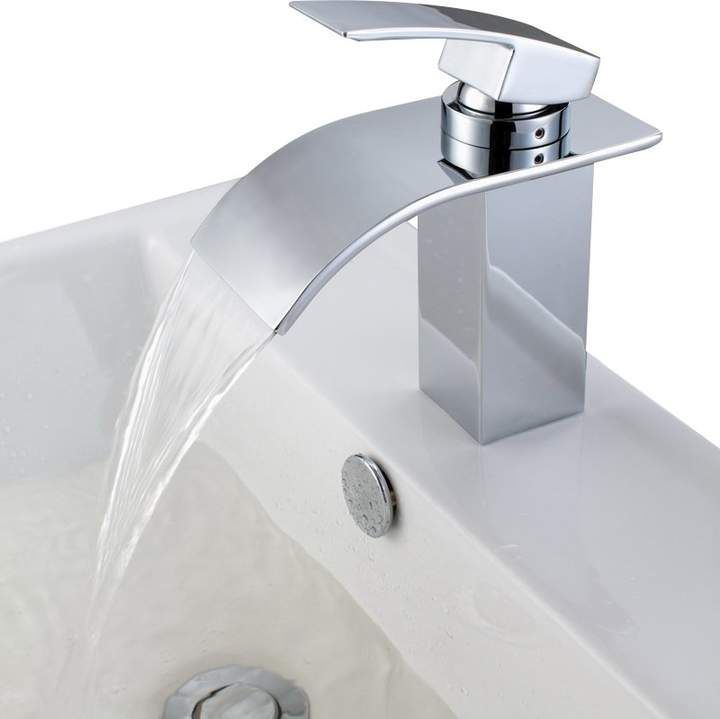 Sumerain International Group Deck Mount Waterfall Bathroom Sink Faucet with Hoses