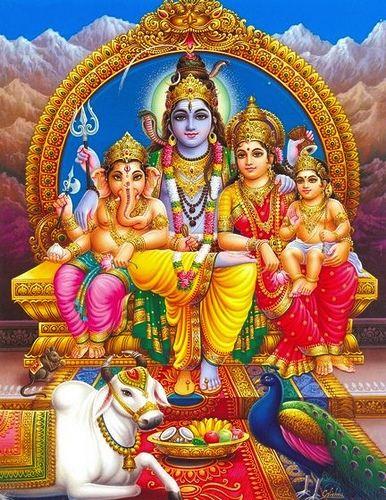 Lord Ganesha, Lord Shiva, Goddess Parviti, Lord Kartik . (from left to right)