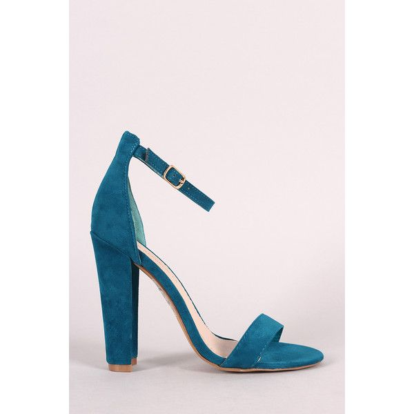 CollectiveFab Shoe Republic Chunky Heel Dress Sandal ($46) ❤ liked on Polyvore featuring shoes, sandals, teal, chunky heel sandals, wide heel sandals, wide heel shoes, chunky heel shoes and thick heel sandals