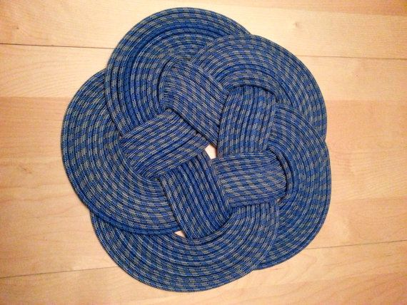 NAUTI NARWHAL Large BLUE Circular Nautical Knot Rope Rug Mat Handwoven From  Upcycled Rope RECYCLED /