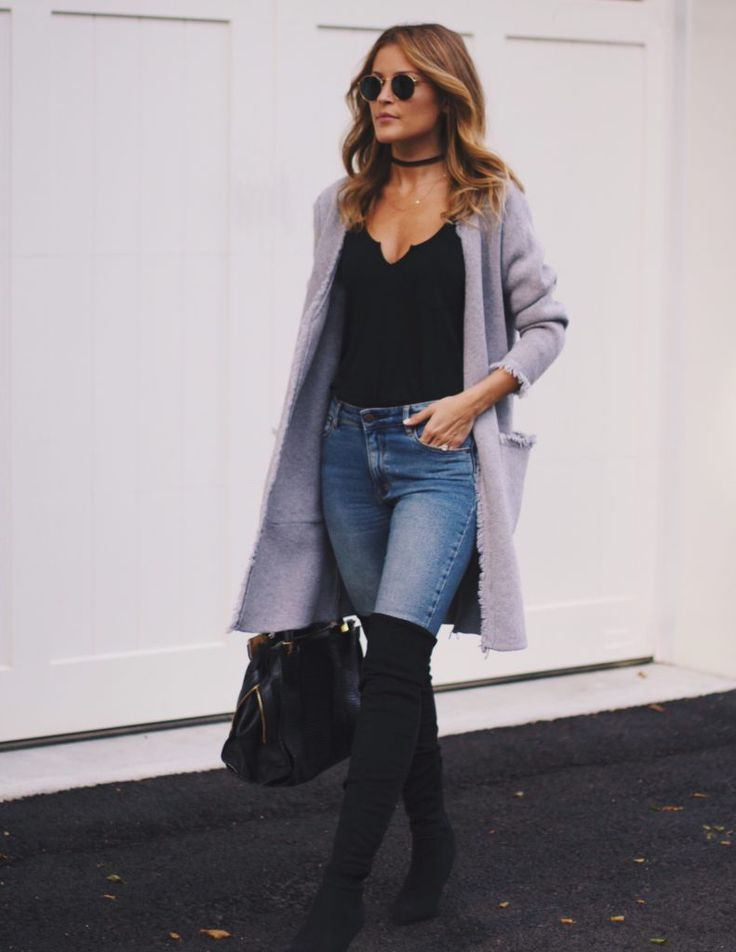 Grey long cardigan, black over the knee boots, tank top, skinny jeans and choker