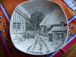 FIGGJO-FLINT-NORWAY-LARVIK-PLATE-1981-OLD-STONE-HOUSES