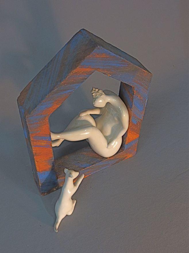 "Ingrid Dusselberg, ""Let's Go"", 37x30x20cm, ceramic slip, glaze surface"