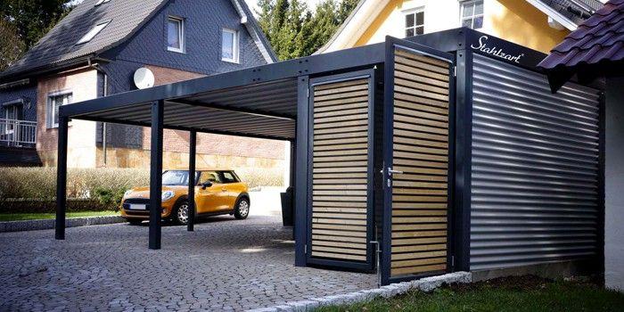 Doppelcarport Metall Holz Stahl Abstellraum Haus Anbau Stahlzart Stahlcarport Carport Stahl Eine Veranda Bauen