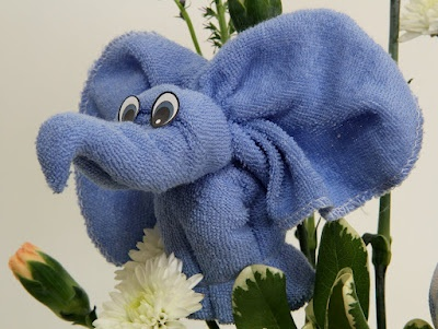 Elephant made of baby washcloths