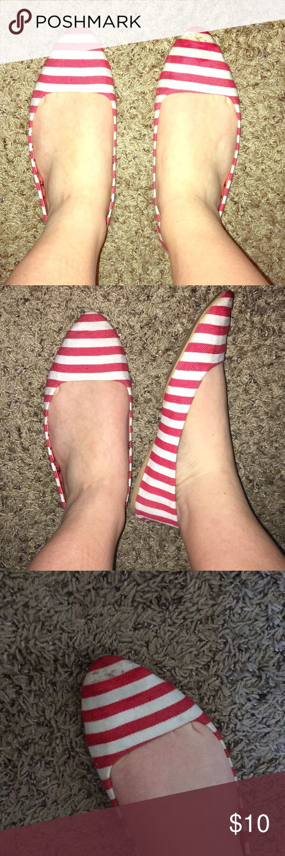 Candy Striped Ballet Flats! Red and white striped ballet flats, barely worn!! Super cute! **there is a small amount of dirt on the right toe, but I'm sure it could be cleaned easily!! Shoes Flats & Loafers