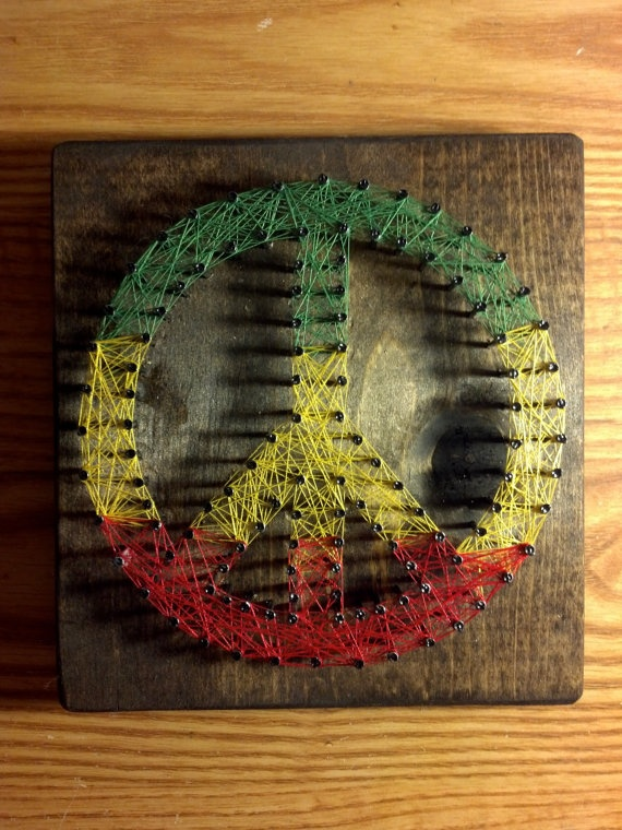 Rasta Peace Sign String Art 6x6 Decorative Wall by SimplyThreaded, $19.00