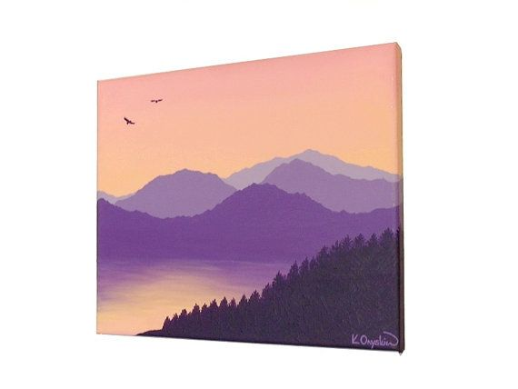 Acrylic landscape of a mountain scene with lake, under a dawn morning sky. Original painting by Kim Onyskiw