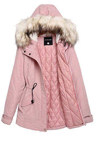 ACEVOG Women Winter Warm Thick Faux Fur Coat Outdoor Hood Parka Jacket M PinkFBA -- Details can be found by clicking on the image.