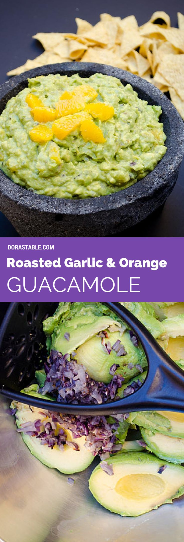Roasted Garlic and Orange Guacamole. Creamy, spicy, tangy and great with chips.