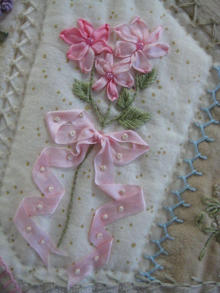 I ❤ crazy quilting . . .  - Pink ribbon embroidery.  ~Klasko
