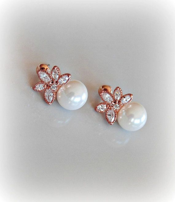 Pearl and Rose Gold Crystal Earrings Studs by TheRedMagnolia