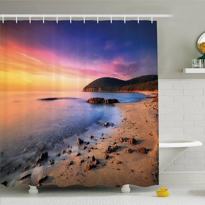 """Ambesonne Scenery House Famous Mediterranean Sun Rise on the Beach with Pebbles Tourism Serene Print Shower Curtain Set Size: 70"""" H x 69"""" W x 1"""" D"""