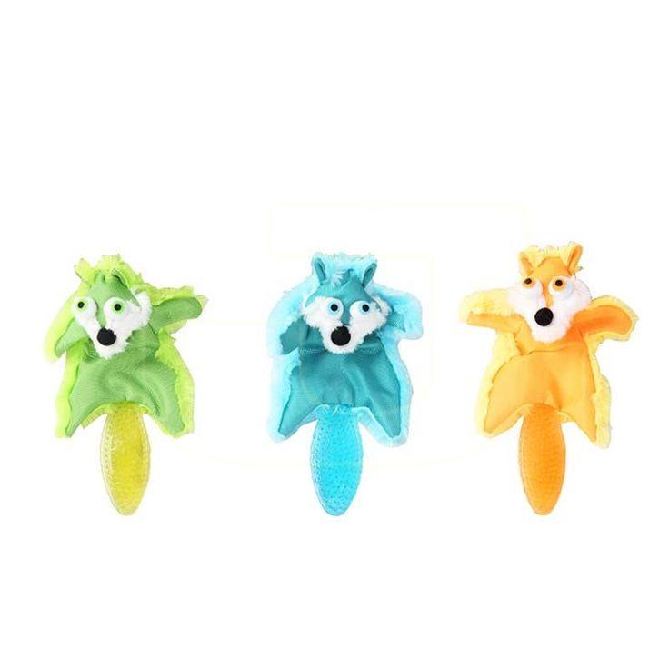Köpekler için, 37 cm uzunluğunda, üzerine basıldığında ses çıkaran, kauçuk kuyruklu tilki köpek oyuncağı %10 indirimde!