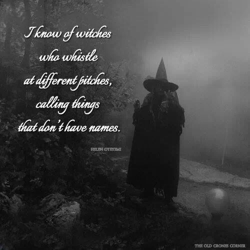 """I know of witches who whistle at different pitches, calling things that don't have names."""